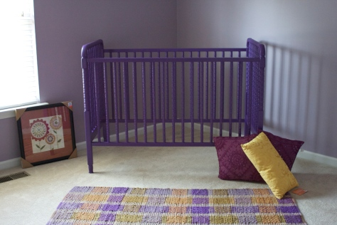 newly-painted crib